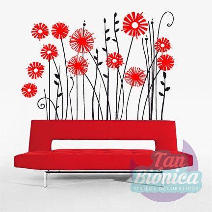Vinilo decorativo adhesivo para paredes de flores y plantas