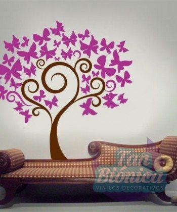 árbol con mariposas, tronco, hojas, diseño, vinilo decorativo, sticker pegatina, adhesivo para paredes, empavonado, habitación, pieza, pared
