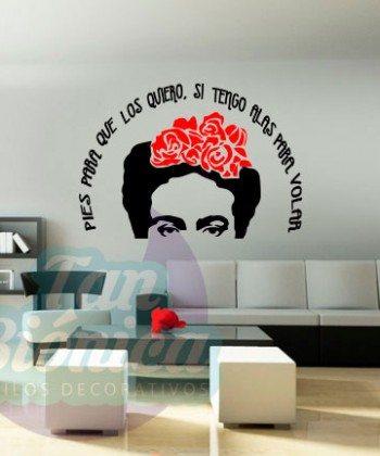 """""""Pies para qué los quiero si tengo alas para volar"""", Frida Kahlo. Vinilo Adhesivo Decorativo, Decoración para las paredes."""
