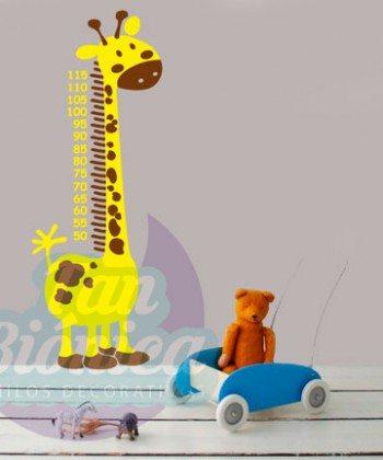 Medidor infantil de jirafa, adhesivo decorativo, vinilo de animales para niños y niñas. DECORACIÓN.