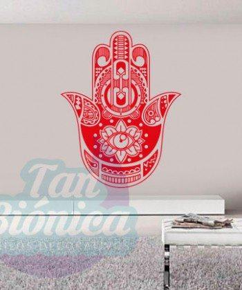 Hamsa, Jamsa o Mano de Fátima. Vinilo Adhesivo Decorativo, Sticker empavonado, protección.