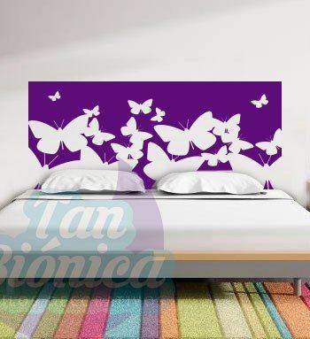 Respaldo para tu cama con mariposas, Vinilo Adhesivo Decorativo, Sticker para el dormitorio, pieza. Chile.