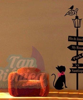 Farol con letrero de ciudades con gatito sticker vinilo adhesivo, empavonados y fotomurales