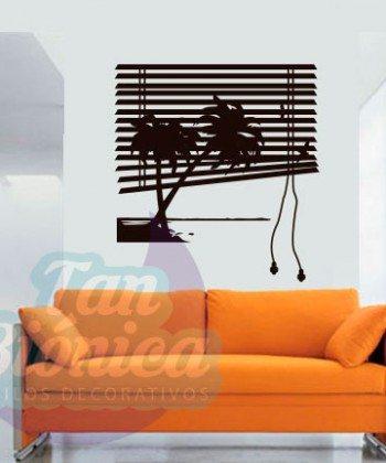 Persiana ventana con palmeras, urbano adhesivos decorativos sticker empavonados y fotomurales.
