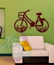Bicicleta Edificios ciudad adhesivos decorativos vinilos stickers para las paredes, empavonados y fotomurales