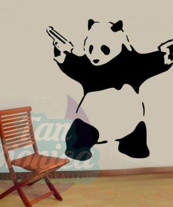 Oso panda pistolero, Banksy graffiti, decoración, sticker vinilo adhesivo decorativo, paredes.
