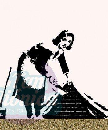 Mujer barriendo bajo la alfombra, Banksy. Esténcil, vinilo decorativo de graffitis, Diseños urbanos, decoración.