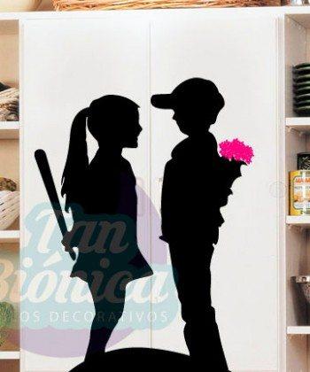 Niño con flores y niña con bate, graffiti, sticker vinilo decorativo, adhesivo para decoración de hogares