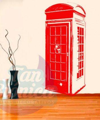 Cabina telefónica inglesa adhesivo decorativo, sticker urbano para las paredes mubles, hogar. Decoración.
