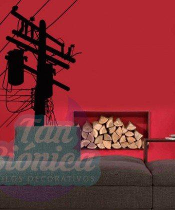 Tendido eléctrico adhesivo decorativo, sticker urbano para las paredes mubles, hogar. Decoración.