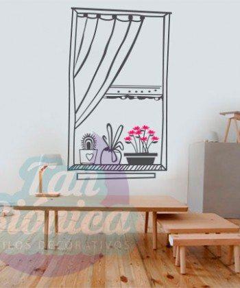 Ventana abierta con plantas en maceteros. Dos colores a elección. Sticker vinilo decorativo, Ventana Falsa, Decoración.