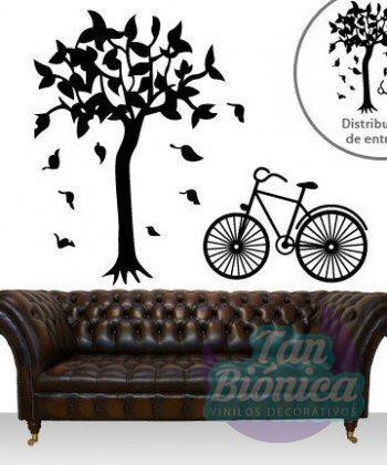 Vinilo decorativo de árbol otoñal con bicicleta
