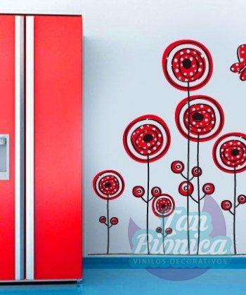 Flores con mariposa, vinilo adhesivo decorativo fotomurales, diseño, empavonado