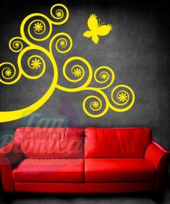 Árbol rama de colores, hojas vinilo adhesivo decorativo empavonados fotomurales diseño y decoración