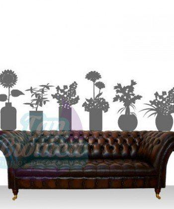 Plantas en macetero, maravillas, girasol, vinilo adhesivo decorativo tanbionica, chile, fotomurales y empavonados