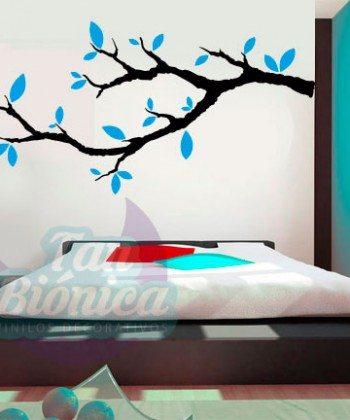 Rama de árbol con hojas de color, Adhesivo Vinilo Decorativo para las paredes o muebles de tu pieza, living, comedor, cocina-