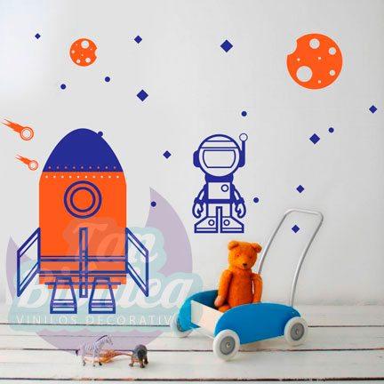 Infantil 1, Adhesivo Vinilo Sticker Decorativo de cohete, espacio, astronauta, planetas, estrellas, niño, bebé, dormitorio