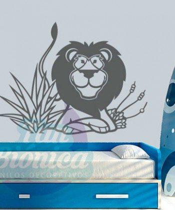 León, rey de la selva, vinilo adhesivo decorativo infantil para niños y niñas, animales, sticker.