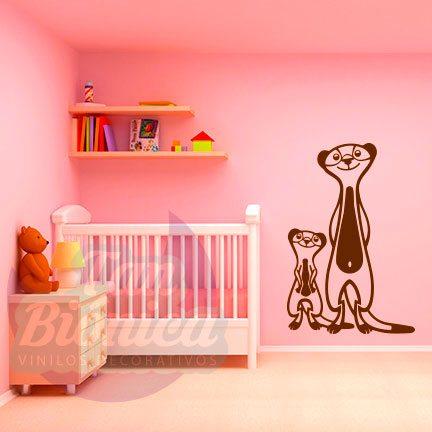 Suricatas de la selva, vinilo adhesivo decorativo infantil para niños y niñas, animales, sticker.