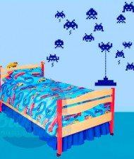 Space invaders, videojuego, video juego, niño, bebé, super héroe, infantil adhesivo decorativo, sticker, vinilo para las paredes