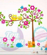 Árbol infantil con animales adhesivo vinilo decorativo para niños o niñas, bebés