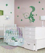 Niño, bebé, joven, guagua, luna estrellas, habitación, vinilo decorativo sticker adhesivo para las paredes