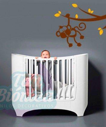 Mono colgando de rama, infantil, selva, niño niña bebé, Vinilo Adhesivo Decorativo, Sticker empavonado, fotomurales