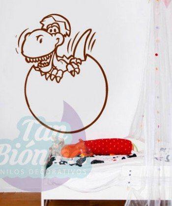 Dinosaurio saliendo del cascarón, vinilo adhesivo sticker decorativo para niño, niñas, diseño infantil