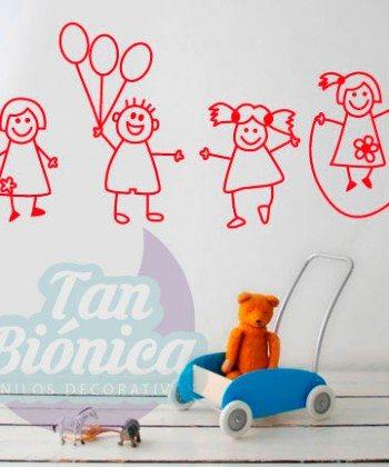 Niños jugando , adhesivo decorativo vinilo infantil para niño y niñas.