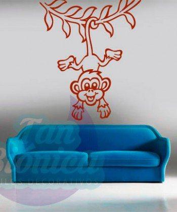Mono colgando de una liana adhesivo decorativo de animales, infantiles vinilos