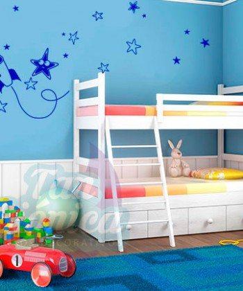 Cohete en el espacio, vinilo adhesivo decorativo infantil para niños y niñas