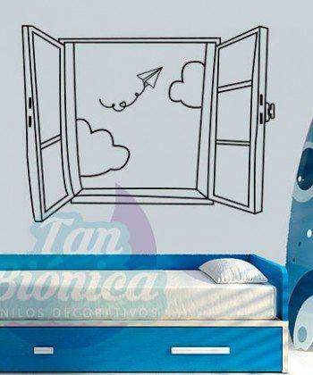 Ventana con avión de papel, vinilo adhesivo decorativo, sticker pegatina para las paredes, infantil, niño, niña, bebé.