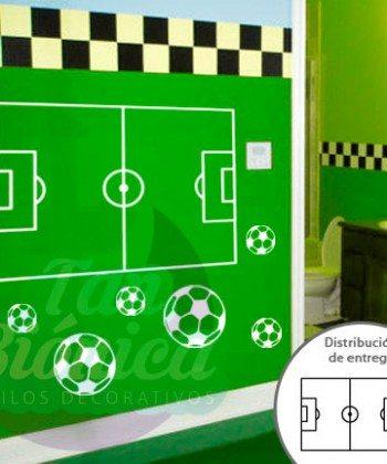 Cancha de fútbol con pelotas, adhesivo vinilo decorativo infantil para niños y niñas