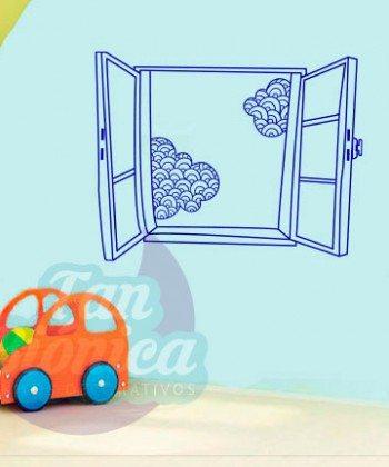 Ventana con nubes, infantil, niño, niña, bebé, Adhesivo Decorativo vinilo para las paredes, fotomurales y empavonados