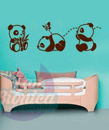 Osos panda jugando, mariposas y bambú, infantil, niño, niña, bebe, Adhesivos Vinilos Decorativos, empavonados y fotomurales.