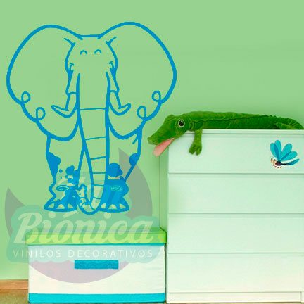 Elefante de la selva, vinilo adhesivo decorativo infantil para niños y niñas, animales, sticker.