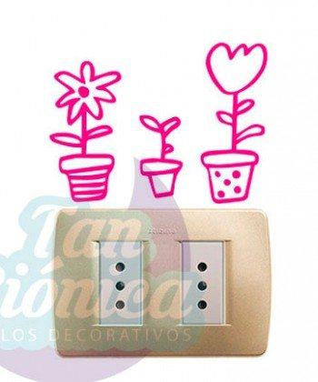 Adhesivos para interruptores y enchufes, sticker decorativos en vinilo . Ideas para el hogar en decoración, flores en macetero