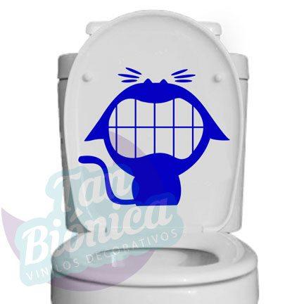 WC Vinilo Adhesivo Decorativo para WC, baño, sticker para el estanque del baño, fotomurales y empavonados económicos y baratos, Chile. gato