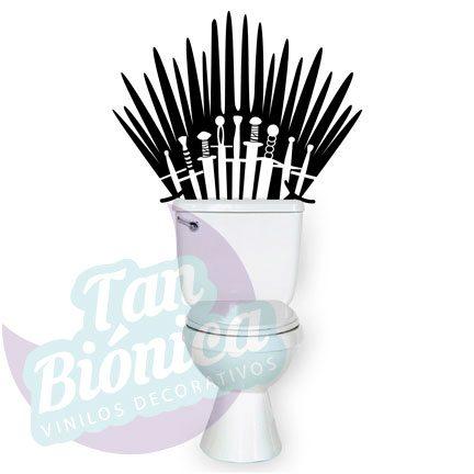 WC Vinilo Adhesivo Decorativo para WC, baño, sticker para el estanque del baño, fotomurales y empavonados económicos y baratos, Chile. Games of Thrones, trono