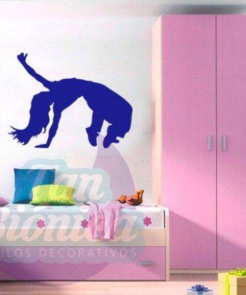 Vinilos Adhesivos decorativos, stickers, empavonados y fotomurales. Baratos y económicos, Pegatinas para las paredes. Bailarina steet dance,