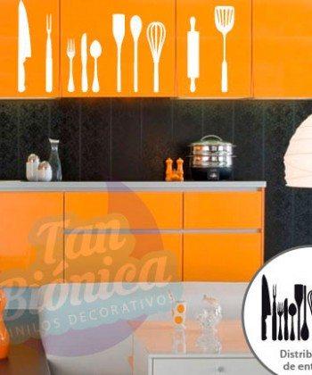 Cocina y Cafetería 1, Vinilo Adhesivo Decorativo, stickers y fotomurales, empavonados baratos y económicos, cafetería, tazas de café, cocina, cocinero, cocinería, coffee, chef, utensilios de cocina, espátula, cuchillo, tenedor, cuchara, tenaza, uslero