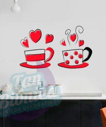 Cocina y Cafetería 1, Vinilo Adhesivo Decorativo, stickers y fotomurales, empavonados baratos y económicos, cafetería, tazas de café, cocina, cocinero, cocinería, coffee, chef, utensilios de cocina, tazas, tazones, tazón, tetera, chef, letras, cocina, idiomas, corazón, amor