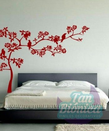 Adhesivo decorativo sticker pegatina vinilo de árbol con pajaros, áves, paredes, chile, decoración