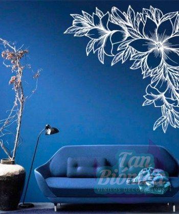Flor, flores, lineas de diseño, decoración, vinilo sticker pegatinas adhesivos decorativos para las paredes, flores con hojas.