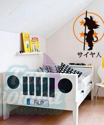 Gokú y esfera del dragón, Dragon Ball, vinilo adhesivo decorativo de animación japonesa, sticker.