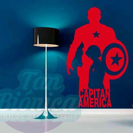 Cine y TV, películas de superhéroes. personaje Capitán América. Vinilo adhesivo decorativo, sticker para paredes, decowall, Empavonados.