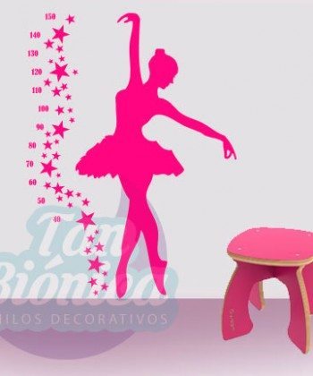 Medidor de bailarina de ballet con estrellas, Vinilo Adhesivo Decorativo para niños y niñas. DECORACIÓN.