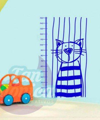 Medidor Infantil de gato encarcelado. Vinilo Adhesivo Decorativo, sticker para niños y niñas, DECORACIÓN.