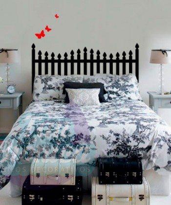 Respaldo para cama con barrotes y mariposas, vinilos adhesivos, Dormitorio y pieza. chile.