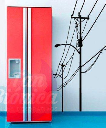 Tendido eléctrico, poste, corriente con cables, adhesivo decorativo vinilo, ciudad empavonados y fotomurales